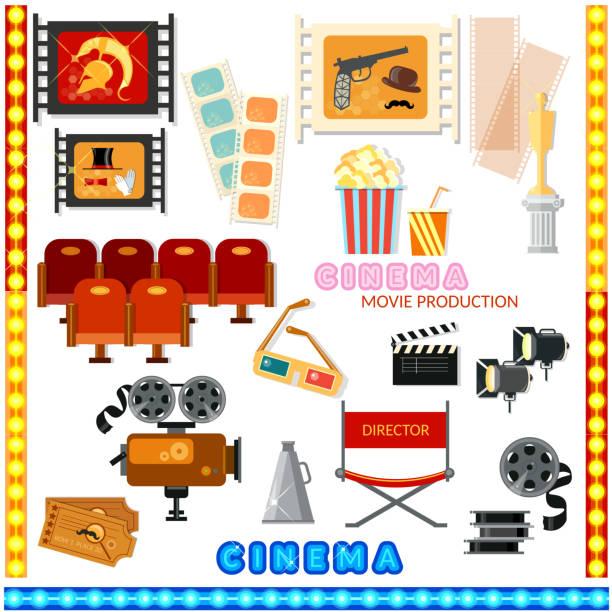 cinema collection movie camera  cinema sign - oscars stock illustrations, clip art, cartoons, & icons