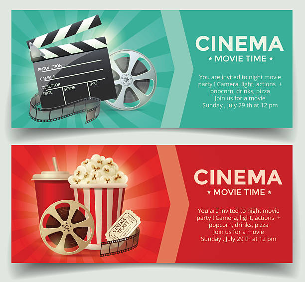cinema concept poster template - tickets and vouchers templates stock illustrations