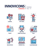 Cinema concept - set of modern thin line design icons on white background. High quality red and blue pictograms. Camera, pop corn, award, ticket, director chair, film, hall, megaphone, clapperboard