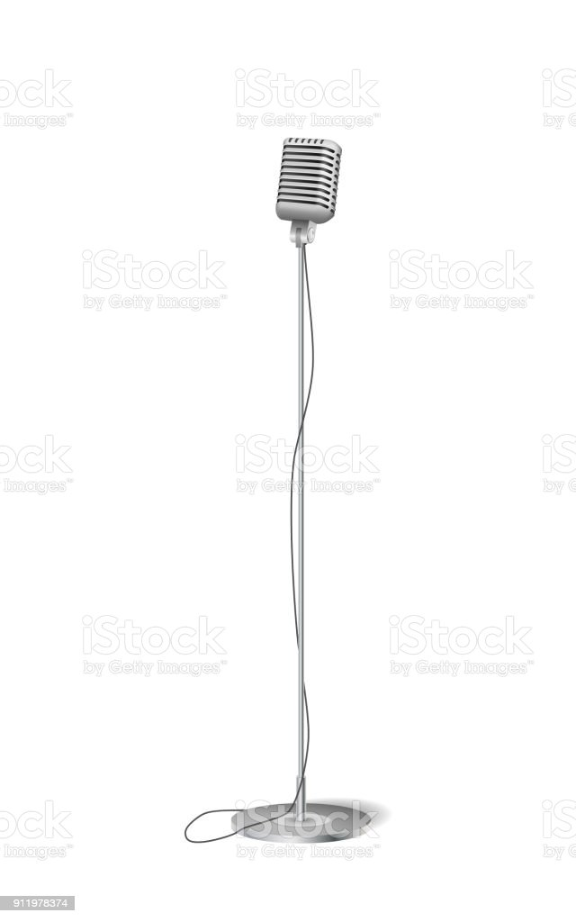 Cinema concert microphone. Retro silver standing microphone isolated on white. vector illustration