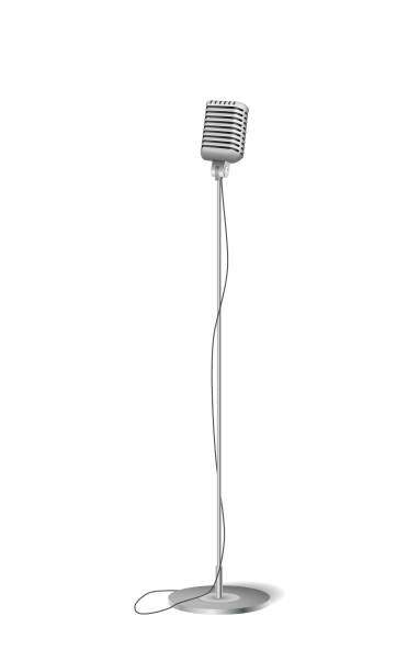 cinema concert microphone. retro silver standing microphone isolated on white. vector illustration - standing stock illustrations