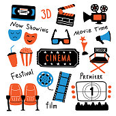Cinema cute symbols set with ink lettering. Movie time and 3d glasses, popcorn, clapperboard, ticket, screen, camera, film, chairs. Funny doodle hand drawn cartoon vector illustration. Isolated on white.