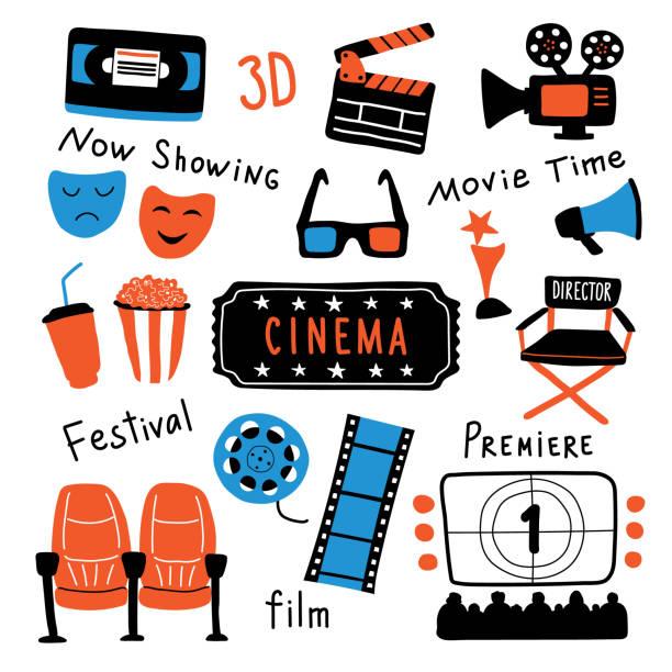 illustrations, cliparts, dessins animés et icônes de ensemble de symboles mignons de cinéma avec lettrage à l'encre. temps de film et lunettes 3d, popcorn, clapperboard, ticket, écran, appareil photo, film, chaises. doodle drôle dessiné à la main illustration vectorielle de dessin animé. isolé sur le - cinéma