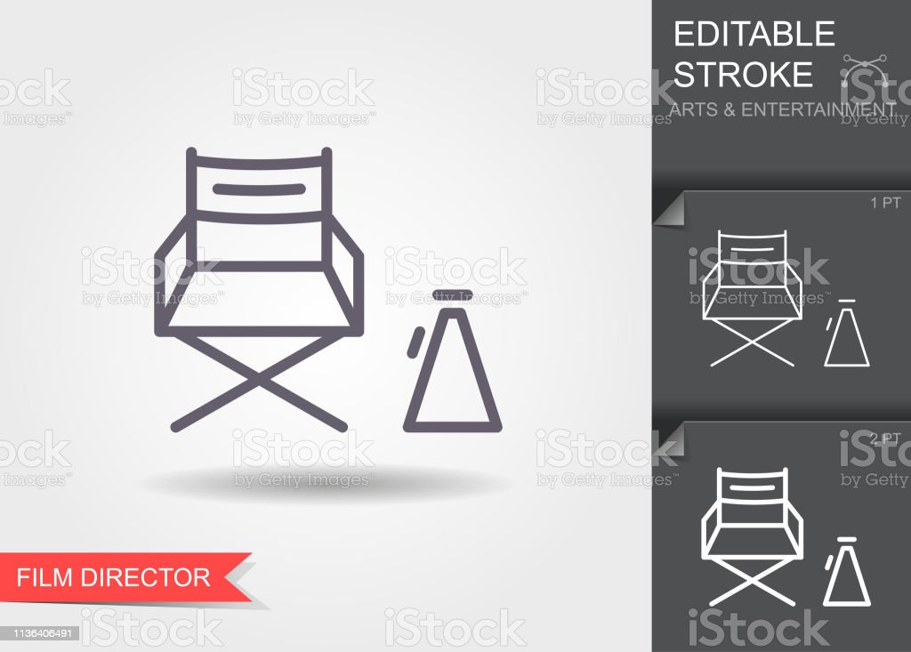 Cinema director chair. Outline icon with editable stroke. Linear...