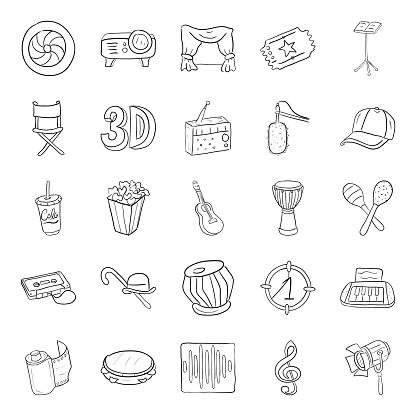 Cinema Doodle Icons Vectors Pack