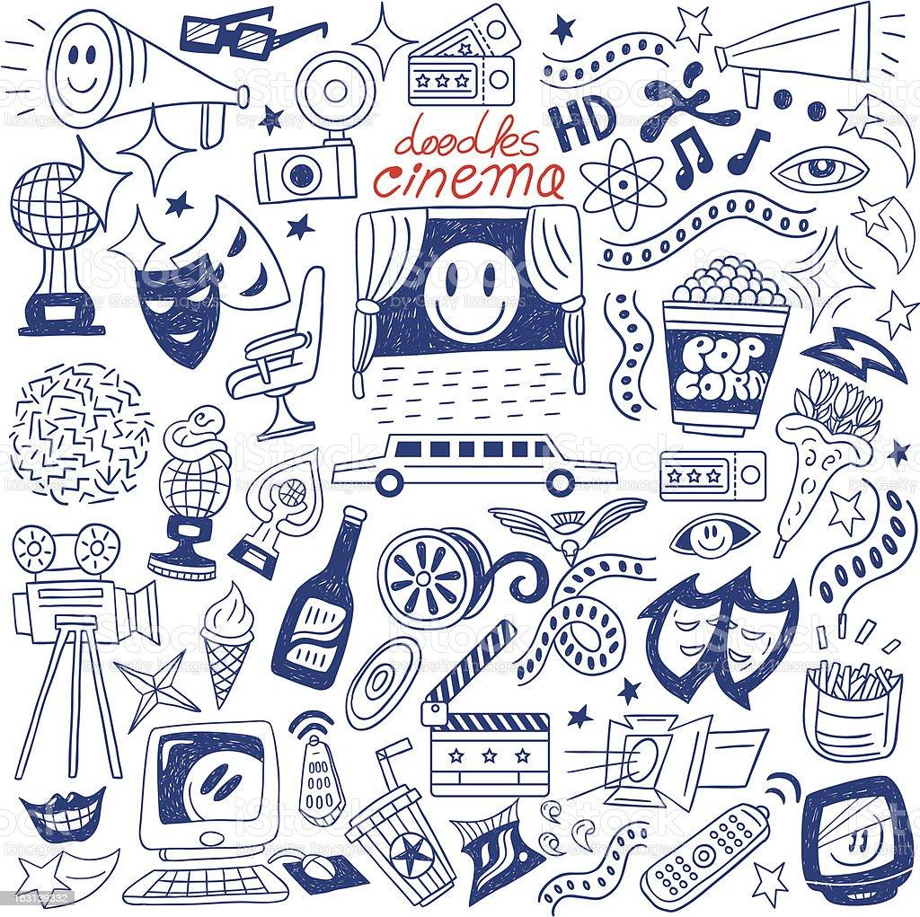 cinema doodles royalty-free stock vector art
