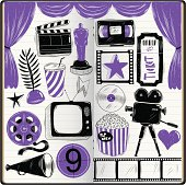 cinema doodles in sketchbook,
