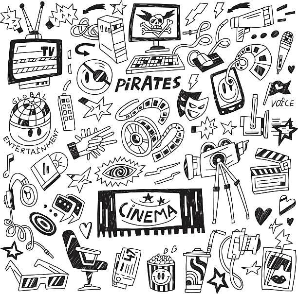 Cinema Doodles Vector Art Illustration