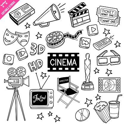 Cinema Editable Stroke Doodle Vector Illustration.