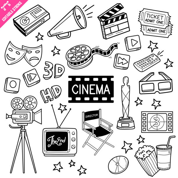 cinema editable stroke doodle vector illustration. - movies stock illustrations
