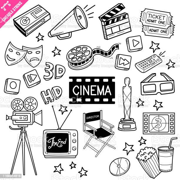 Cinema Editable Stroke Doodle Vector Illustration - Immagini vettoriali stock e altre immagini di A forma di stella