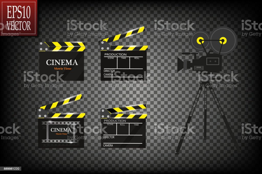 Cinema festival Flyer Or Poster With Movie Reel And Clapper Board. Vector Illustration Of Film Industry. Template For Your Design