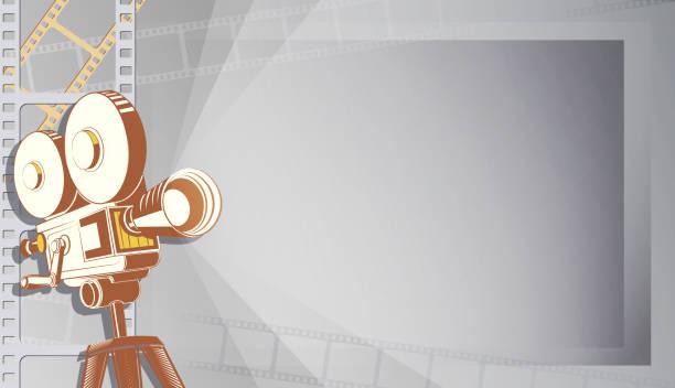 stockillustraties, clipart, cartoons en iconen met cinema festival poster sjabloon of banner. film projector illustratie. 3d-stijl film camera met film spotlight. verkoop cinema theater tickets, film tijd en entertainment concept. kunst achtergrond - photography curtains