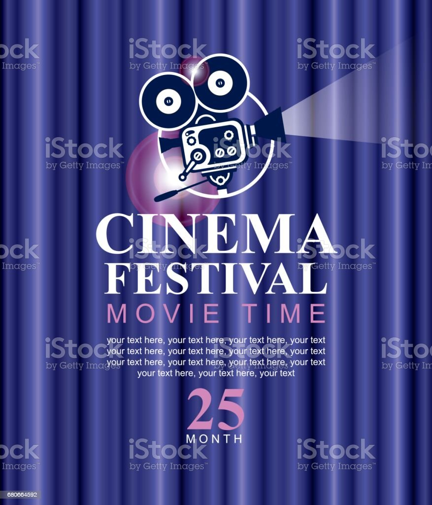 cinema festival poster with old fashioned camera vector art illustration