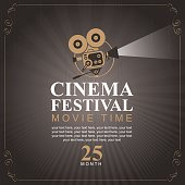 cinema festival poster with old fashioned camera