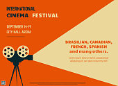 Retro style international movie festival poster template. Orange background and black colors. Film festival poster. Movie theater reel and camera. Template for movie banner or poster in retro colors.