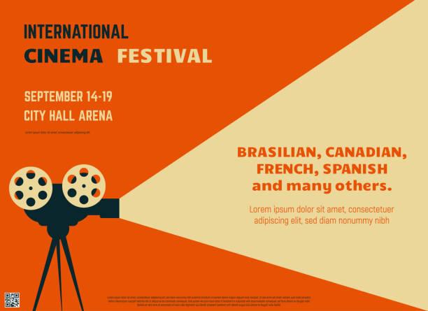illustrations, cliparts, dessins animés et icônes de affiche rétro festival de cinéma - cinéma