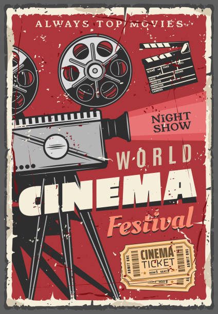 영화 축제 레트로 포스터, 빈티지 캠코더 - 영화 산업 stock illustrations