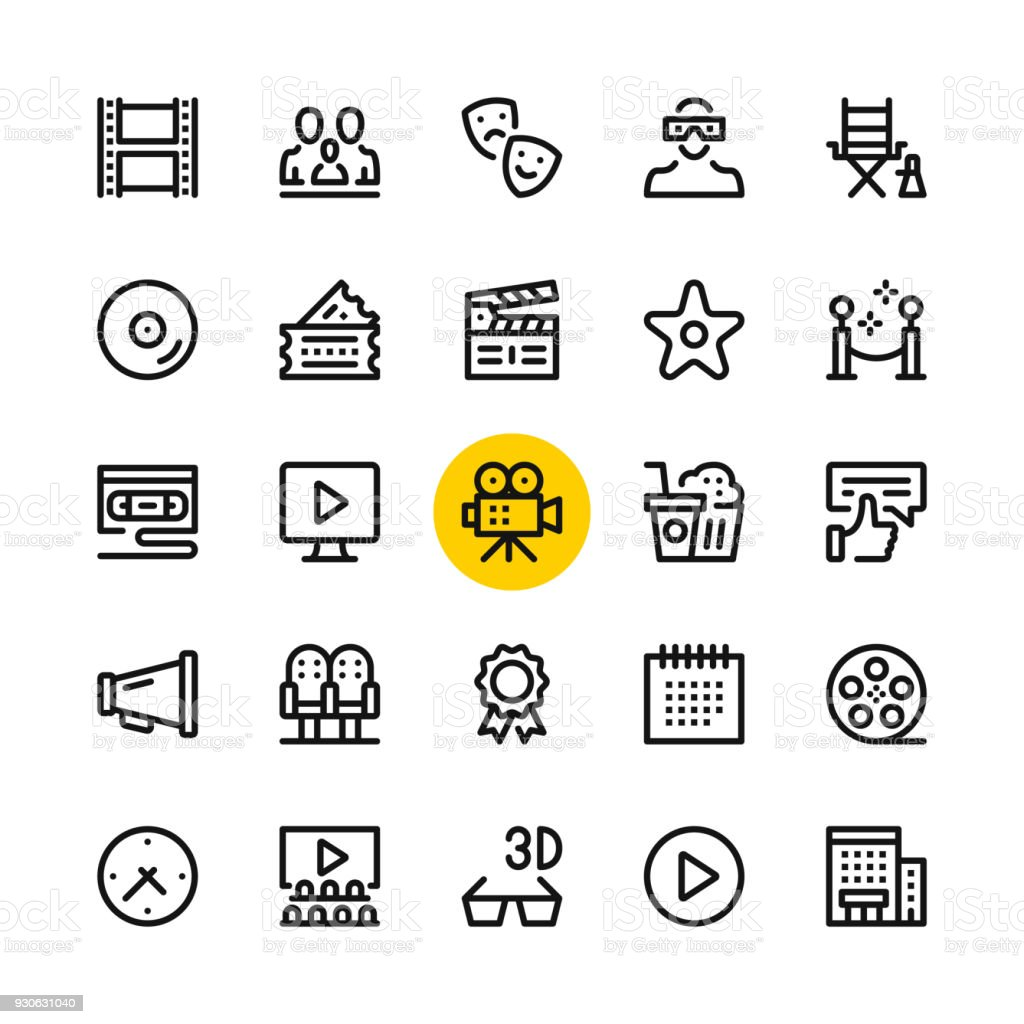 Cinema, film industry, video production line icons set. Modern graphic design concepts, simple outline elements collection. 32x32 px. Pixel perfect. Vector line icons