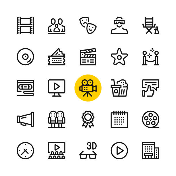 ilustrações de stock, clip art, desenhos animados e ícones de cinema, film industry, video production line icons set. modern graphic design concepts, simple outline elements collection. 32x32 px. pixel perfect. vector line icons - film