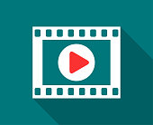 istock Cinema, Film Or Video Flat Icon With Long Shadow 1098169384