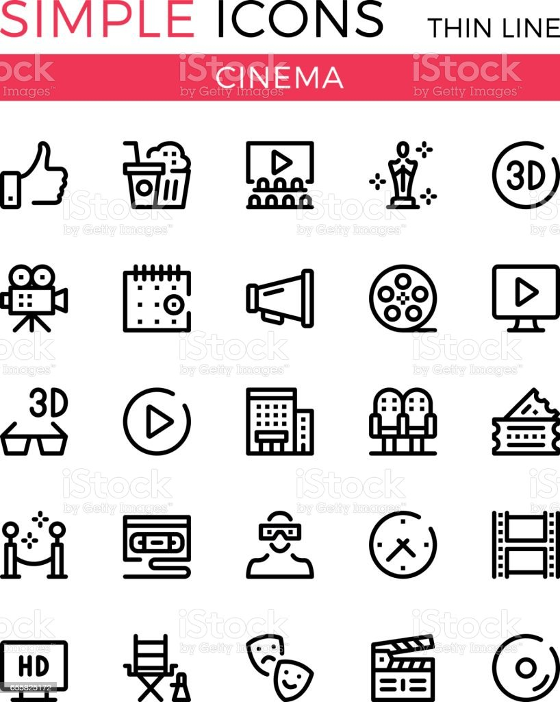 Cinema, filmmaking, cinematography, film production vector thin line icons set. 32x32 px. Modern line graphic design for websites, web design, etc. Pixel perfect vector outline icons set vector art illustration