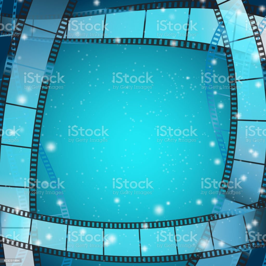 cinema frame square background with film strips over blue background with stripes and glittering particles. vector illustration vector art illustration