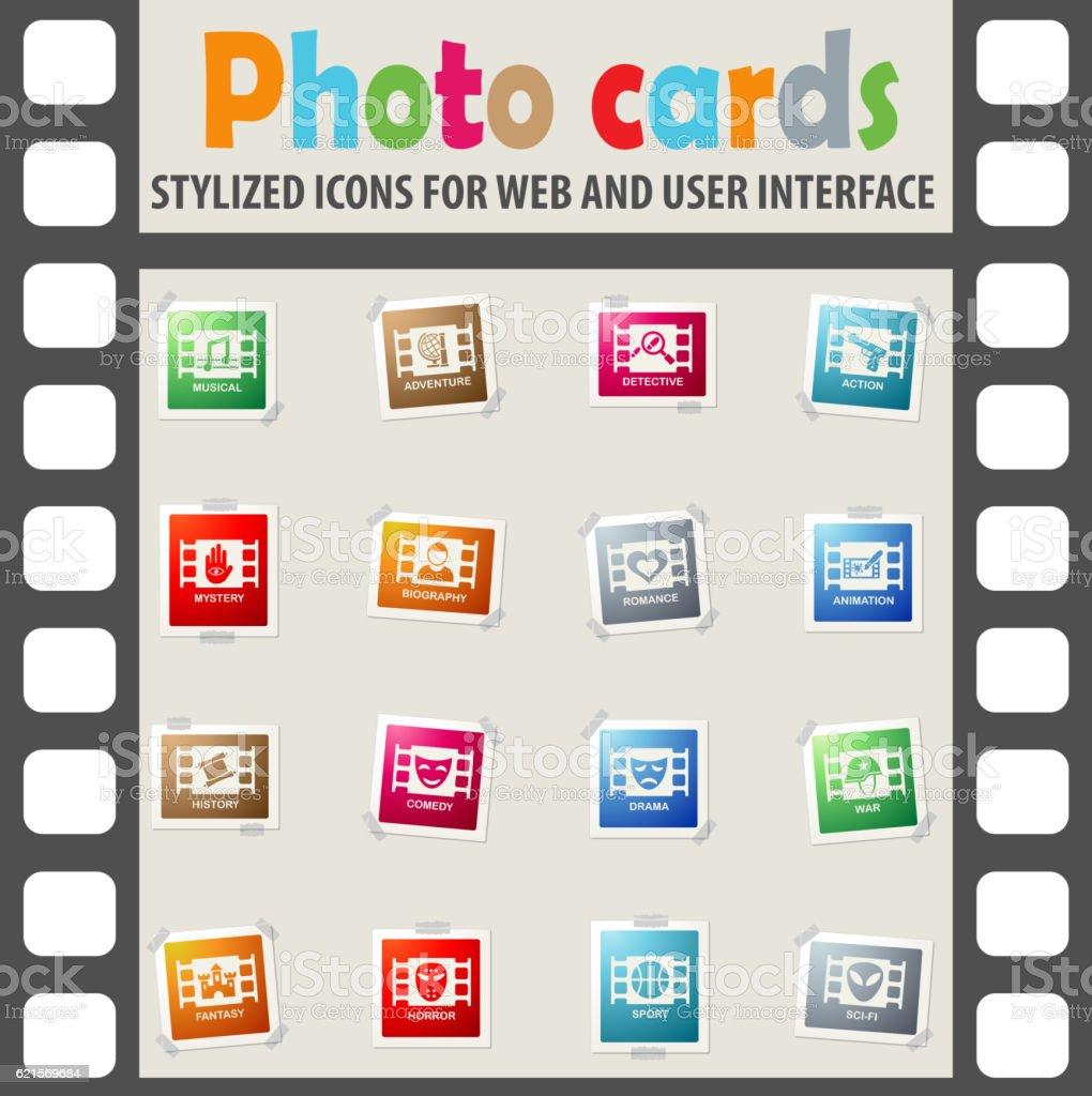 cinema genre icon set Lizenzfreies cinema genre icon set stock vektor art und mehr bilder von abenteuer