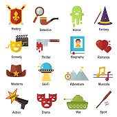 Cinema genre icons set cinematography flat entertainment comedy, drama, thriller movie production symbol vector illustration