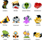 Cinema genre icons set flat comedy, drama, thriller, comedy cinematography movie production designation marking sign vector illustration
