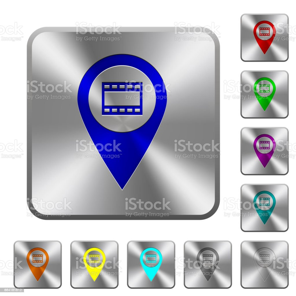 Cinema GPS map location rounded square steel buttons royalty-free cinema gps map location rounded square steel buttons stock vector art & more images of arts culture and entertainment