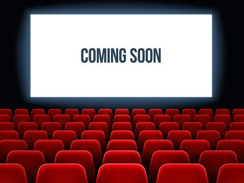 Cinema hall. Movie interior with coming soon text on white screen and empty red seats. Movie theater vector background
