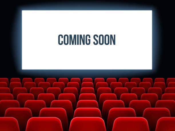 illustrations, cliparts, dessins animés et icônes de salle de cinéma. intérieur de film avec bientôt texte sur écran blanc et des sièges rouges vides. fond de film théâtre vecteur - cinéma