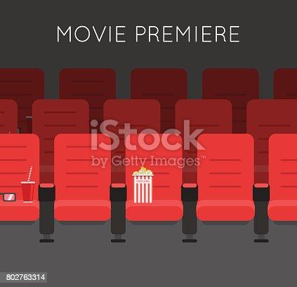 Cinema hall Red Cinema chairs vector illustration. Movie theater armchair