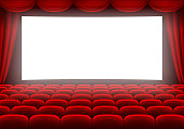 Cinema hall with white glowing screen, curtain and rows of red seats. Vector illustration.