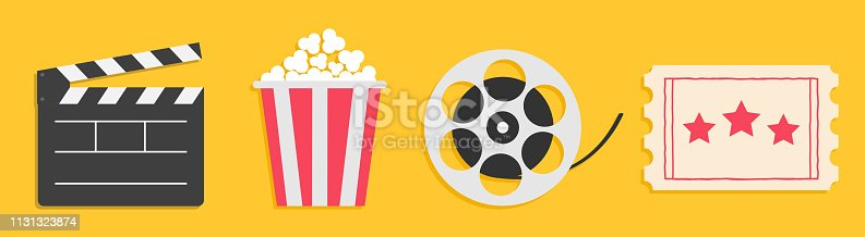 Cinema icon set line. Popcorn box package Big movie reel. Open clapper board. Ticket Admit one. Three star. Flat design style. Yellow background. Isolated. Vector illustration