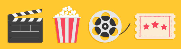 cinema icon set line. popcorn box package big movie reel. open clapper board. ticket admit one. three star. flat design style. yellow background. isolated. - movies stock illustrations