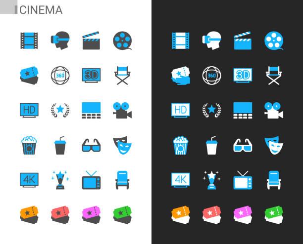 stockillustraties, clipart, cartoons en iconen met de pictogrammen van de bioskoop licht en donker thema. 48x48 pixel perfect. - hdri landscape