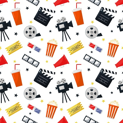 cinema icons pattern seamless. signs and symbols collection icon for websites with white background. vector illustration.
