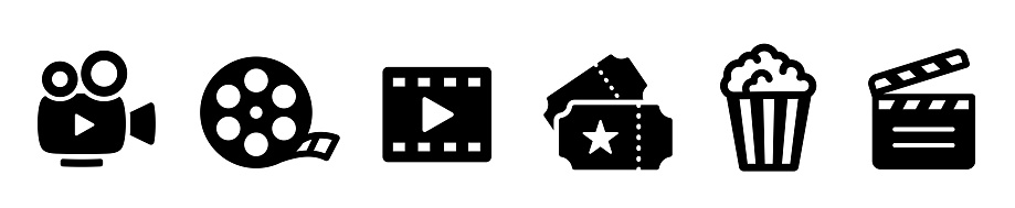 Cinema icons set. Collection icon: Popcorn box, movie, clapper board, film, movie, tv, video and other. Flat style - stock vector.