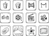 Cinema icons set. Hand Drawn illustration.