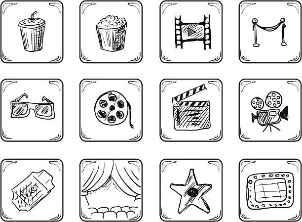 stockillustraties, clipart, cartoons en iconen met cinema icons. - photography curtains