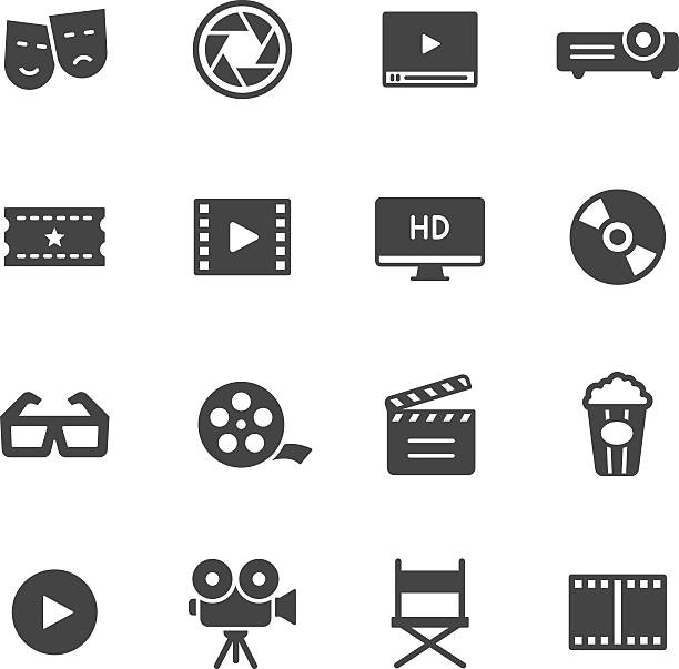 Cinema Icons Movie, film and cinema icons arts culture and entertainment stock illustrations