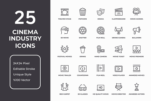 Cinema Industry Thin Line Icon Set