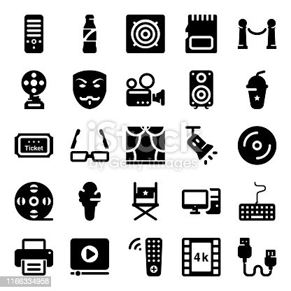 Here is a pack of cinema instruments solid vectors showing imagery and notational visuals icons leading elements of movie theater vectors that are best for your projects