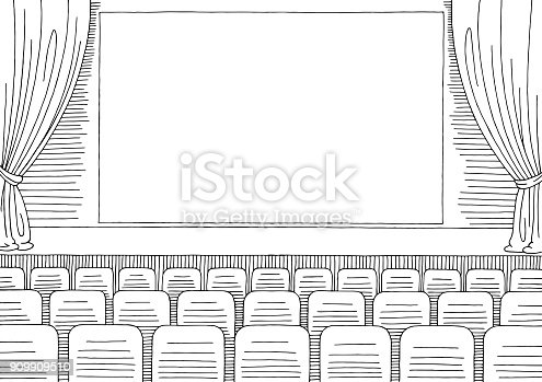 istock Cinema interior graphic black white sketch illustration vector 909909510