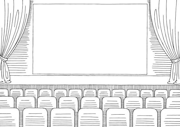 シネマ インテリア グラフィック ブラック ホワイト スケッチ イラスト - ステージのイラスト点のイラスト素材/クリップアート素材/マンガ素材/アイコン素材