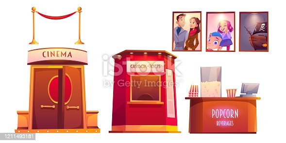 Cinema interior with cashbox and counter with popcorn. Vector cartoon set of furniture in movie theater, tickets and snack shop, film posters and red rope fence isolated on white background