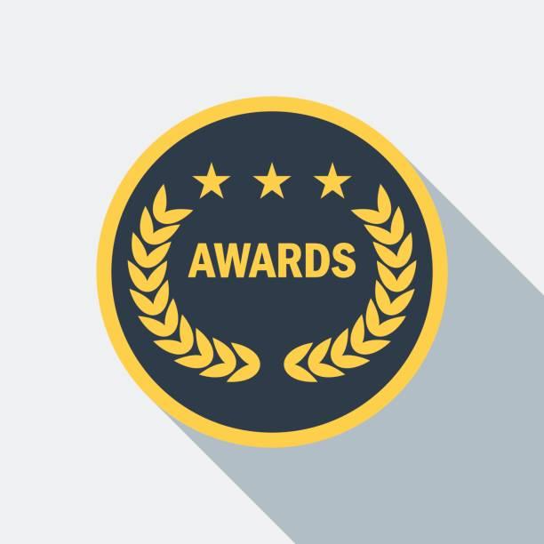cinema laurel award icon - oscars stock illustrations, clip art, cartoons, & icons