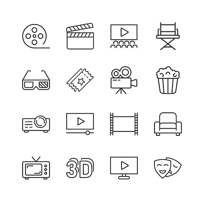Cinema line icon in flat style. Entertainment set vector illustration on white isolated background. Movie media business concept.
